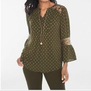 Chico's Green Floral Embroidered Blouse